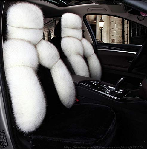 Universele winter-faux stoelhoezen, stoel warm auto nieuwe pluche autostoelhoezen auto auto styling voor vrouwen en mannen (kleur: wit)