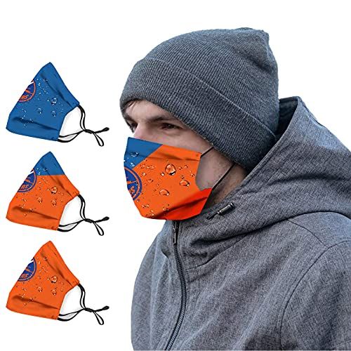 TWOIYIN Hockey Team N.Y.I 3 Pcs Face Cloth Comfortable with 6 Filters Fans Gift for Men Women