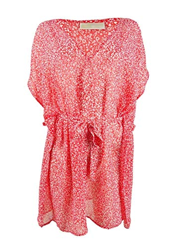 Michael Michael Kors Shadow Floral Belted V-Neck Caftan Cover-Up Terracotta MD