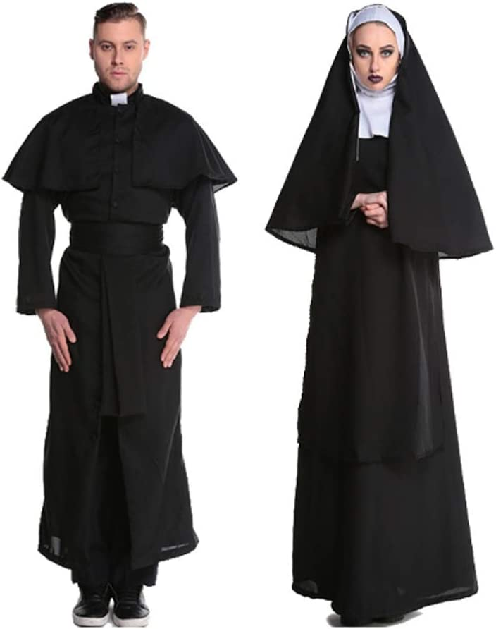 FXJ Halloween Costume Adult Couple Col Translated Philadelphia Mall Dress Priest Nun