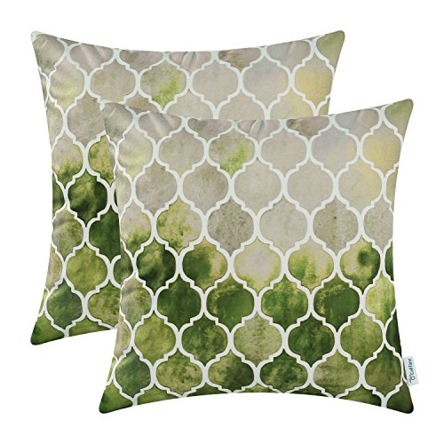 CaliTime Pack of 2 Cozy Throw Pillow Cases Covers for Couch Bed Sofa Manual Hand Painted Colorful Geometric Trellis Chain Print 50cm X 50cm Main Grey Green Olive