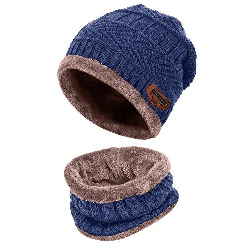 Aibrou Herren Wintermütze Warm Beanie Strickmütze und Schlauchschal mit Fleecefutter Blau