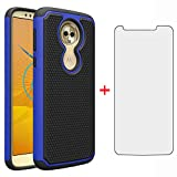 Phone Case for Moto E5/G6 Play/MotoG6 Forge with Tempered Glass Screen Protector Cover and Slim Hard Hybrid Silicone Cell Accessories Motorola MotoG6Play Moto6 G 6 6G G6Play MotoE5 5E Cases Black Blue