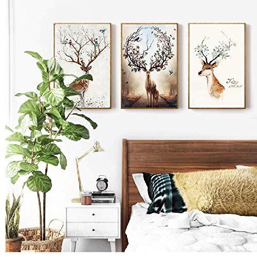 CKQ-KQ Marco de grano 3pcs de madera / Nordic Elk pared pintura decorativa pintura mural animales 40 * 60cm HD micro-aerosol hogar moderno sencilla vida sofá hotel cálido arte clásico Tabla de madera