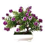 JYKFJ 1 Pieza de Flor Artificial en Maceta Bonsai Escenario jardín Boda hogar Fiesta decoración Accesorios - púrpura Rojo Plantas Artificiales decoración del hogar Regalo