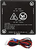 Anet Aluminum MK2 MK3 12V Heated Bed Hotbed Upgrade with Hotbed Wire Cable Line for Anet A8 A6 3D Printer, Black 220x220mm