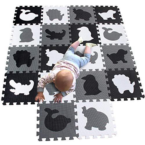 MQIAOHAM spielmatte Baby puzzlematte puzzelmatten für Babys Play mat krabbelmatte Boden Puzzle spielmatten matten krabbeldecke wasserdicht Matte Schaum bodenmatte Schwarz weiß grau P051HBH