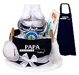 Trend Mama-Windeltorte blau Papa Loading. Latzschürze mit coolem Windelwechsler Zubehör - das Geschenk für den werdenden/frischgebackenen Papa  