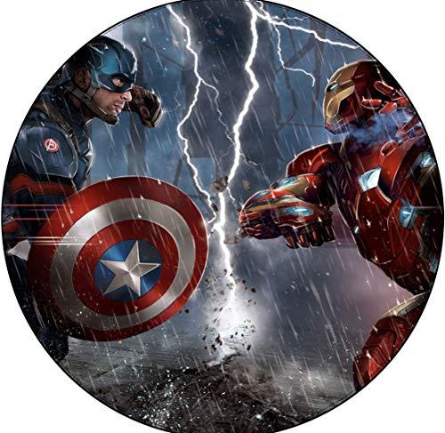 chengcheng Sala de Estar Alfombra Redonda Alfombrilla para Dormitorio Impresión en 3D Héroe Logotipo Alfombra Marvel Alliance 100cm
