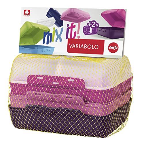 Emsa 517052 Variabolo Clipbox Set 4 Pezzi, Decorazione Girls, Rosa, 16 x 11 x 14 cm