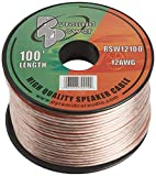 100ft 12 Gauge Speaker Wire - Cable in Spool for Connecting Audio Stereo to Amplifier, Surround Sound System, TV Home Theater and Car Stereo - Pyramid RSW12100