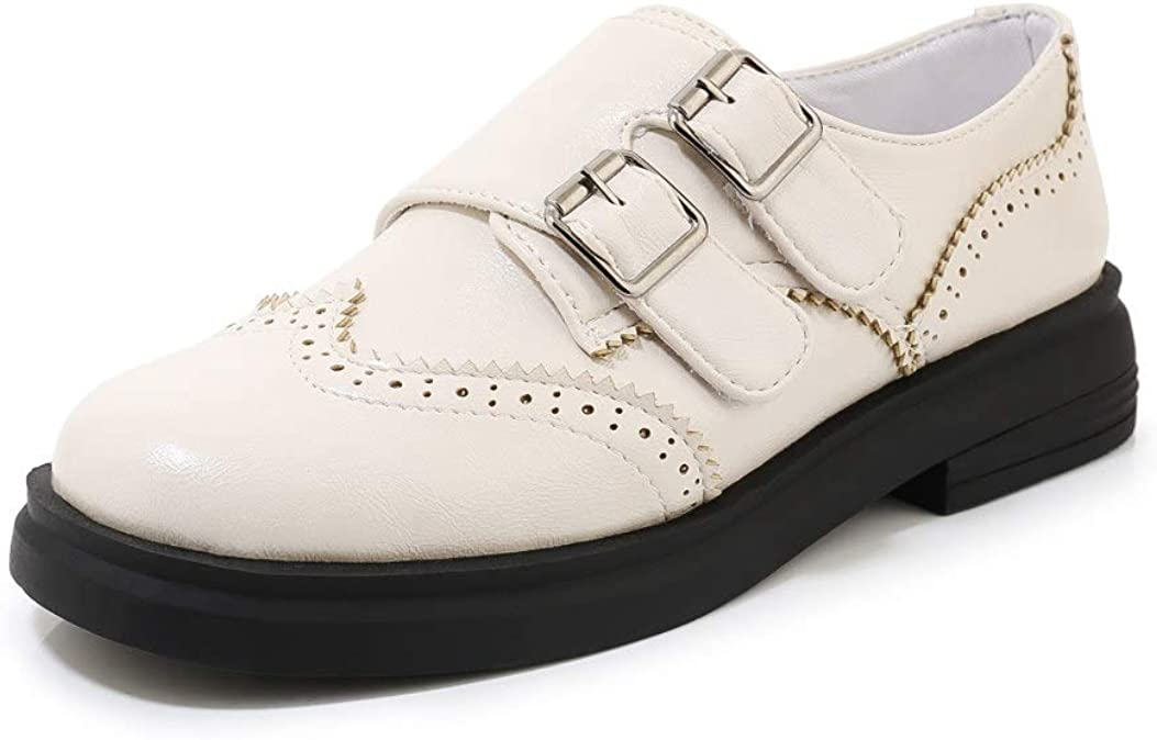 Women Slip On Platform Oxfords Double Monk Straps Round Toe Low Top Loafers Classic Flat Shoes