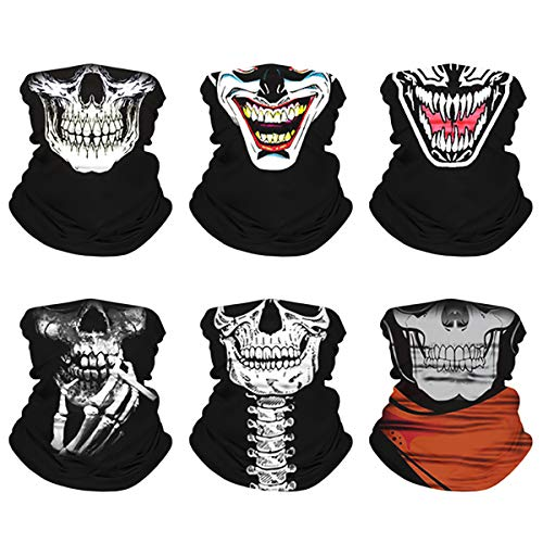 Skull Face Cover Windproof Seamless Cycling Scarf Dust-Proof Half Bandana (Skull-6)