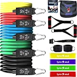 16 PCS Premium Quality - Pro Resistance Rubber Band Set by LYNXSOUL - Complete Exercise KIT - Door Anchor, Ankle Straps, Handles, Tube and Loop Bands for Training and Workout.