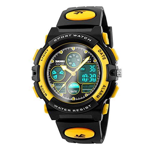 Reloj Digital para niños, Resistente al Agua hasta 50 m, para Deportes al Aire Libre, con Alarma, Temporizador, Doble Zona horaria, retroiluminación EL, Reloj de Pulsera electrónico para Adolescentes