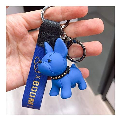 AOSUAI Fashion French Punk Bulldog Keychain Dog Keychains for Women Bag Charm Trinket Men Car Key Ring Key Chain (Color : Blue)