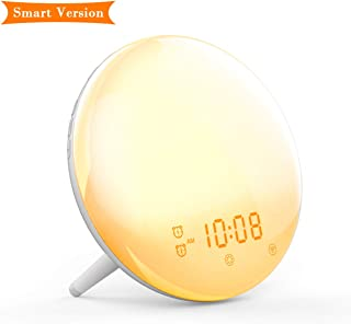 SONATA Wake- Up Light Alarm Clock Alexa Compatible Sunrise/Sunset Simulation Dual Alarms 7 Colors Atmosphere Lamp FM Radio 7 Natural Sounds and Snooze Function for Kids Adults Bedrooms(Smart)