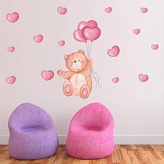Kibi Adesivi Murali Orso Rosa e Fiori Adesivi Murali Orsetti Bambini Stickers Muro Orsetti