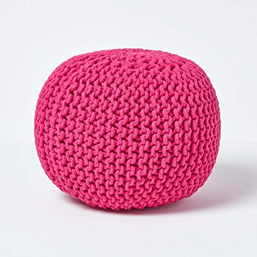 Homescapes Mustard Knitted 100% Cotton Pouffe