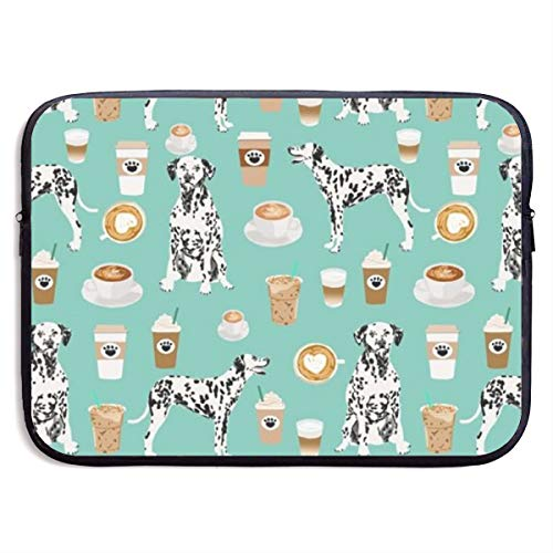 Dalmatians Cute Mint Coffee Best Dalmatian Dog Print 13-15 Inch Laptop Sleeve Bag Portable Dual Zipper Case Cover Pouch Holder Pocket Tablet Bag,Water Resistant,Black