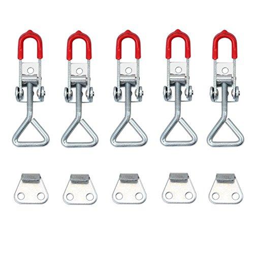 AUTOUTLET 5x Einstellbare Kniehebelspanner 100KG/220lbs Schlösser Verriegelung Schnappverschluss Bügelspanner Verschluss Hebel Kistenverschluss Haltekraft Latch Button Toggle Latch, S Size