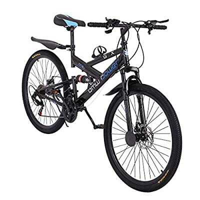 Adult Mountain Bikes 26 Inch Mountain Trail Bike High Carbon Steel Full Suspension MTB Speed Bicycles 6 Spoke 21 Speed ??Gears Dual Disc Brakes Outdoor Mountain Bicycle - US Stock
