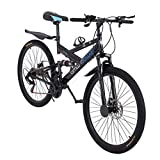 26in Carbon Steel Mountain Bike Outroad Bike 21-Speed Shimanos21 Speed Bicycle Full Suspension MTB 6-Spoke Stylish Rim Lightweight and Durable Adult Bike (Black)
