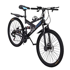 HIGH QUALITY - This high-carbon steel mountain bike has 21-speed gear thus you can quickly select a gear for every terrain and enjoy different speed cycling experience, like a wind chaser.The 26-inch 6-spoke stylish rim is safer and firmer.You can sh...