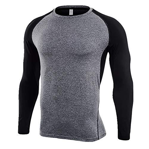 Langarm Fitness Anzug Herren Schnell Trocknend T-Shirt Outdoor Sport Kleidung Gr. L, asche