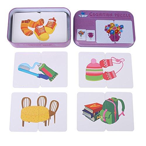Fdit 32PCS Card Puzzle cognitivo apprendimento precoce educazione di apprendimento Giocattoli Veicolo/Animal/Frutta/Living Merci Learning Training