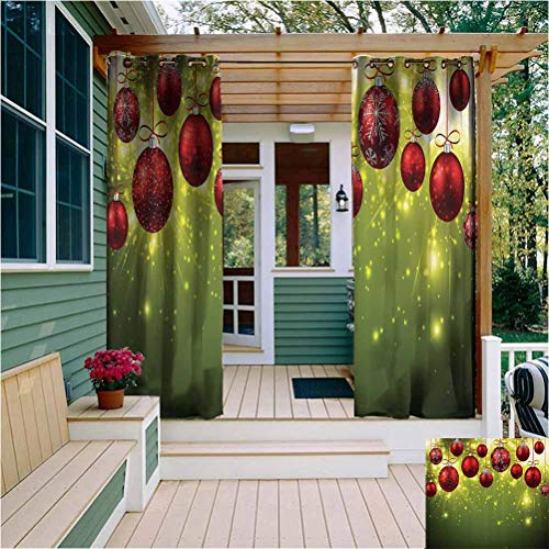 Christmas Outdoor Privacy Curtain for Pergola Vibrant Colored New Year Design with Psychedelic Digital Effects and Baubles Print Room Darkening Green Red W72 x L72 Inch