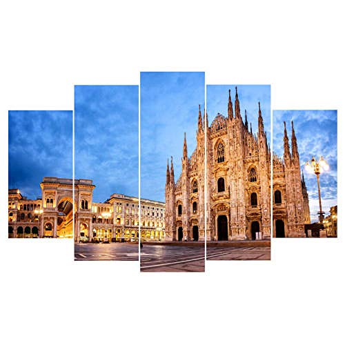 GHYTR Noche Piazza del Duomo Milán Cuadro sobre Impresión Lienzo 5 Piezas Marco 150X80Cm HD Arte De Pared Modulares Sala De Estar Dormitorios Decoración para El Hogar Póster Regalo