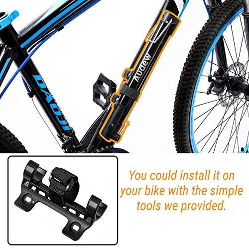 Audew Mini Fahrradpumpe 160PSI/11bar Fahrradluftpumpe Tragbare Mini Pumpe Presta&Schrader Ventil Rahmenpumpe {mit Reifenreparaturset } für Fahrrad, Ball, aufblasbares Spielzeug - 5