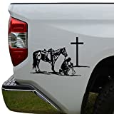 Rosie Decals Cowboy Horse Praying Cross Christian Die Cut Vinyl Decal Sticker For Car Truck Motorcycle Window Bumper Wall Decor Size- [10 inch/25 cm] Wide Color- Matte Black