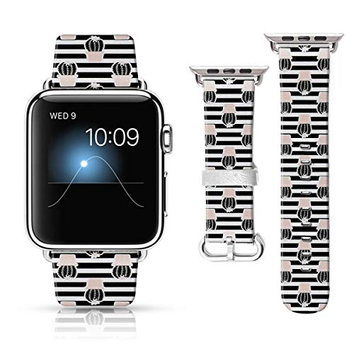 LAACO Leather Band Compatible with iWatch SE Series 6 38mm 40mm, Genuine Leather Fadeless Pattern Printed Vintage Replacement Strap Classic Bands Compatible with iWatch 6/5/4/3/2/1 Black Cactus