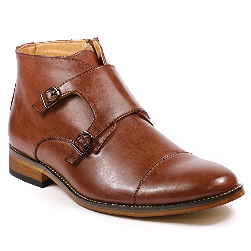 UV Signature UV204 Men's Cap Toe Double Monk Strap Formal Dress Casual Ankle Boots (10, Brown)
