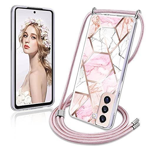 YIRSUR Handykette Kompatibel mit Samsung Galaxy S21 5G Hülle, Marmor Glitzer Necklace Handyhülle mit Abnehmbar Kordel zum Umhängen Silikon Schutzhülle mit Band Kompatibel mit Samsung Galaxy S21 5G