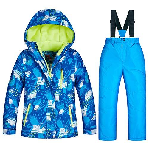 LPATTERN Kinder Jungen/Mädchen Snowboard & Skifahren Bekleidung Zweiteilig Skianzug Schneeanzug Outfit-Set Winddicht Wasserdicht (Skijacke+ Skihose mit Trägern), Jungen 4+Blau, 128-134(Label:12)