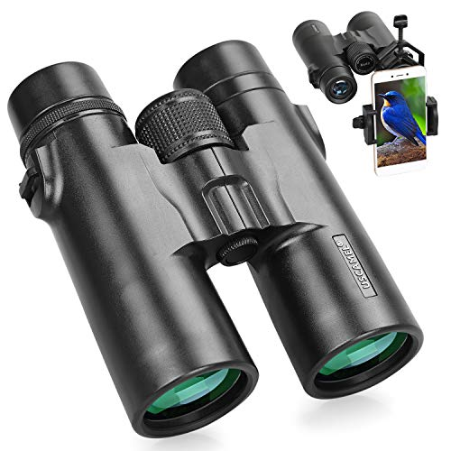8x42 Binoculares de Alta Potencia para Adultos con Prismáticos BAK4 Prism FMC len Impermeables para la Observación de Aves Conciertos de Juegos de Fútbol con Adaptador para Smartphone