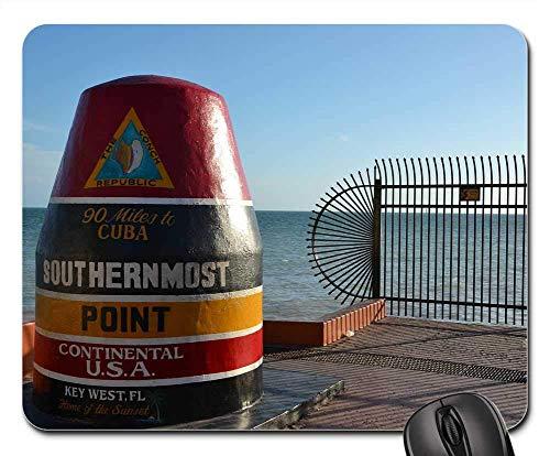 Mouse Pad Southermost Point Key West Cuba Keys Florida Usa Mausmatte Bedruckter Tisch Mauspads Tastatur Rutschfest 25X30Cm Gummi Diy Spielmatte Retro Standardgröße Computer Büro L