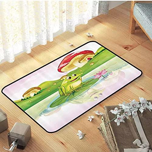 SOTUVO Felpudo Entrada Animal Decor Welcome Door Mat Ilustración de Linda Rana en Lirio de Agua con Hongos en el Fondo Nature Lake Lámina artística-20x28 Inch