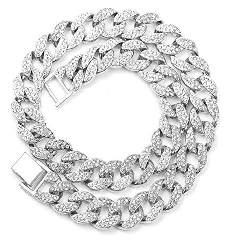 MNMXW Collar de Cadena de eslabones cubanos de Miami Chapado en Oro de Cristal para Hombre, Collar de Hip Hop, joyería de Plata