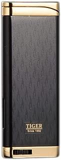 Refillable Blue Flame Adjustable Ultra-Thin Butane Viewable Windproof Cigar Cigarette Lighter Black/Gold
