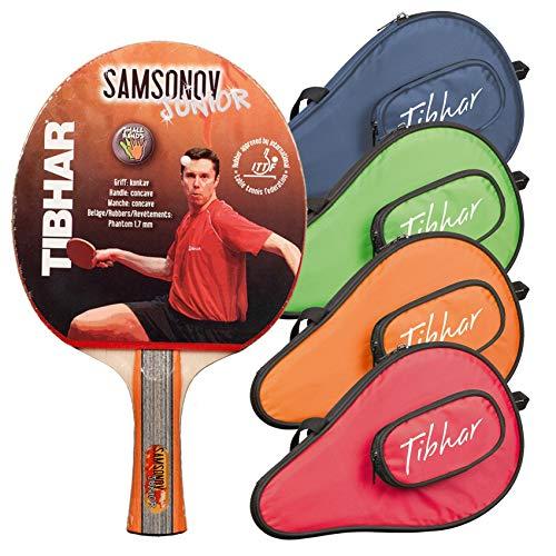 Tibhar Pala de ping pong Samsonov Junior y funda Metro con compartimento para pelota, juego de ping pong para niños, cóncavo, aprobado por la ITTF (azul)