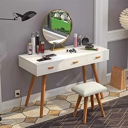 PNYGJDSZT Modern Dressing Table, Drie Laden Een Make-up Spiegel Dressing Table, Slaapkamer Dressing Table Dames make-up tafel kruk