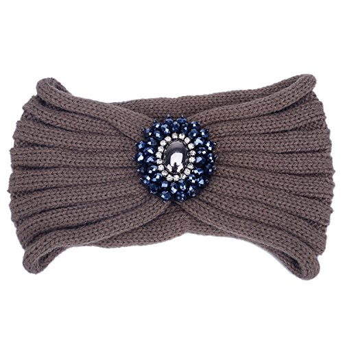 TININNA Serre-tête Bandeau Bande de Cheveux Laine Tricoté Turban Elastique Couvre-Oreille Head Wrap Chapeaux avec des Pierres pour Femme Fille Kaki