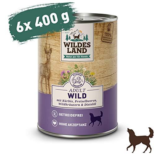 Wildes Land | Nassfutter für Hunde | Nr. 7 Wild | 6 x 400 g | mit Kürbis, Preiselbeeren, Wildkräutern & Distelöl | Glutenfrei | Extra viel Fleisch | Beste Akzeptanz und Verträglichkeit
