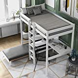 Twin Bunk Bed Convertible Loft Bed with L-Shape Desk and One Mattress, Convertible Loft Bed with Shelves and Ladder for Boys and Girls