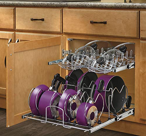 Rev-A-Shelf 21 2-Tier Soft-Close Cookware Base Organizers Chrome