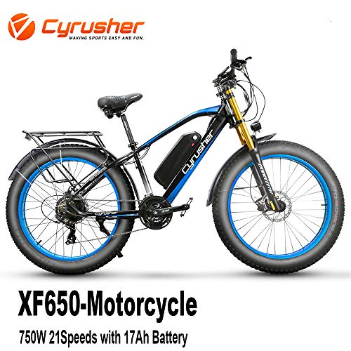 Cyrusher Upgraded XF650 750W Electric Bike 21 Speeds Fat tire Motorcycle Style Mountain Bike Hydraulic Disc Brakes with 17Ah Lithium Battery Beach Cruiser for Adults(Blue)